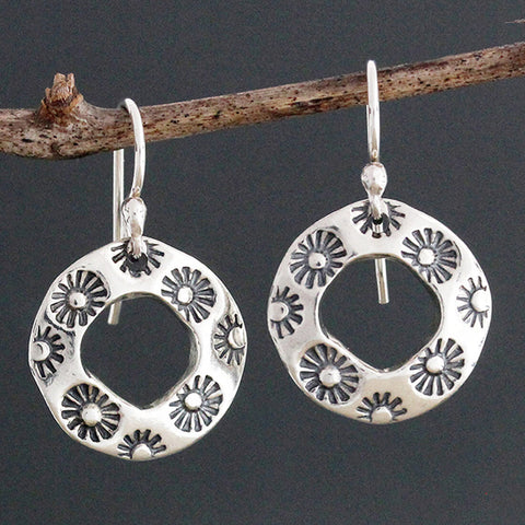 Sherry Tinsman Flower Stamped Hoop Earrings