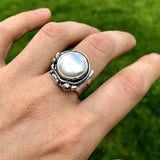 Sherry Tinsman Full Moon Freshwater Pearl Ring On Finger