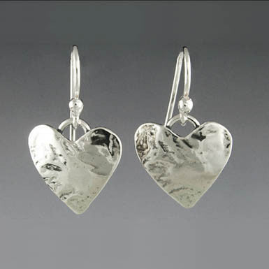 Sherry Tinsman Small Sterling Silver Heart Earrings