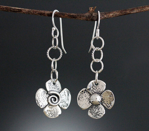 Sherry Tinsman Reversible Flower Earrings Showing Both Sides
