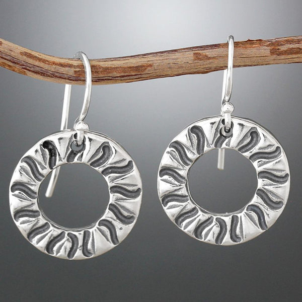 Sherry Tinsman Radial Stamped Hoops Earrings