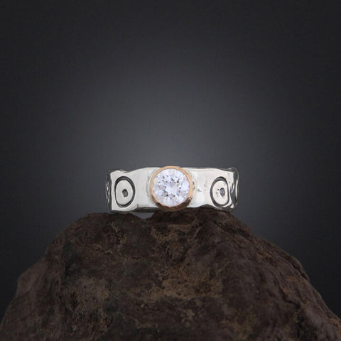 Sherry Tinsman Stamped Band CZ 14kt Gold Bezel Ring