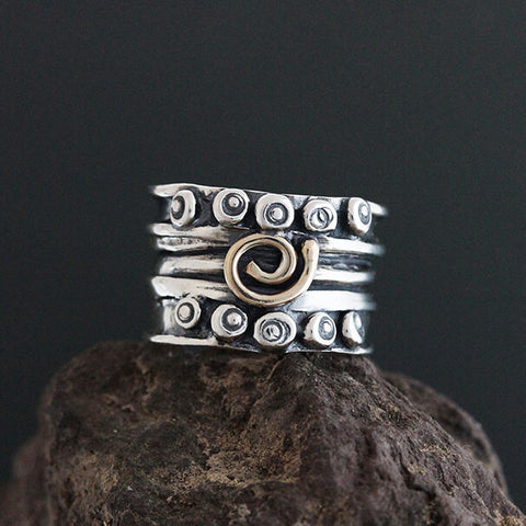 Sherry Tinsman Sterling Nordic Band with 14k Gold Spiral