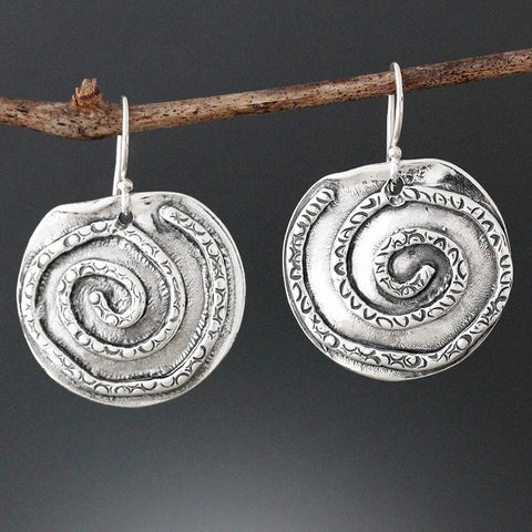 Sherry Tinsman Textured Spiral Earrings