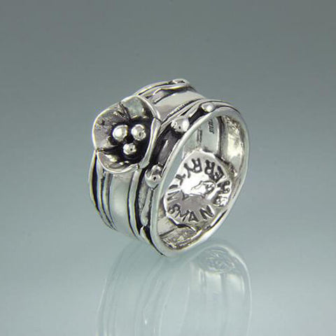 Products Sherry Tinsman Triple Jennifer Silver Dogwood Ring Side View