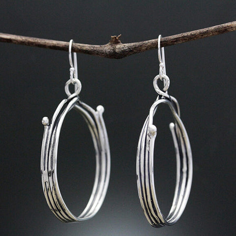 Sherry Tinsman Front Hanging Twig Hoop Earrings