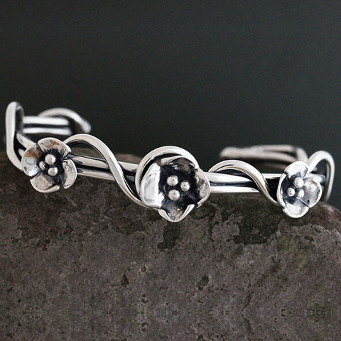 Sherry Tinsman Wrap Vine Cuff With Dogwood Flowers