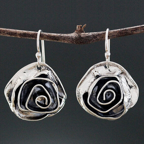 Sherry Tinsman Sterling Rose Flower Earrings