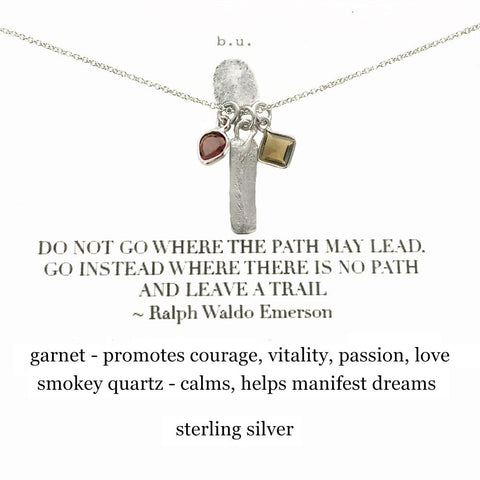 "b.u. Inspirational ""Leave A Trail"" Emerson Quote Necklace"