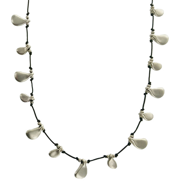 Organic Silver Droplets Necklace