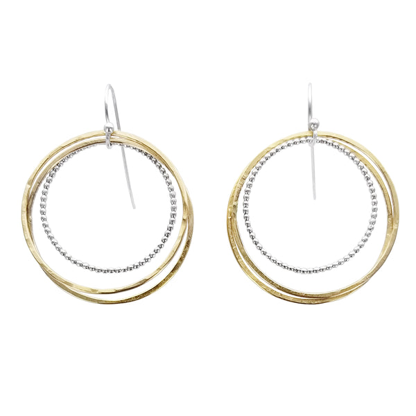 Triple Mixed Metal Hoops Earrings