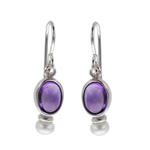 Sierra Sonoma Silver Amethyst Pearl Earrings