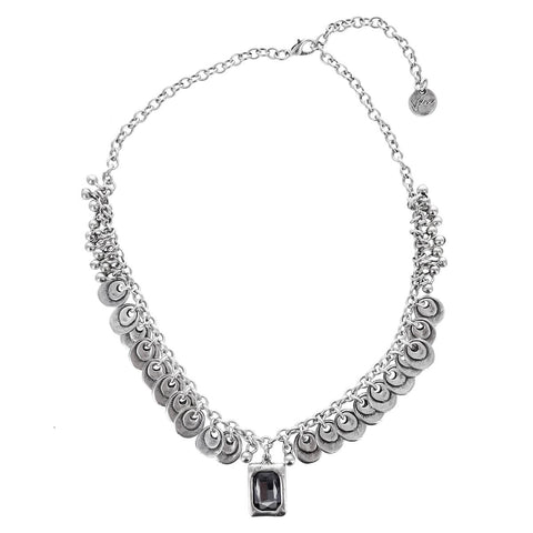 Silver Fringe Crystal Drop Necklace