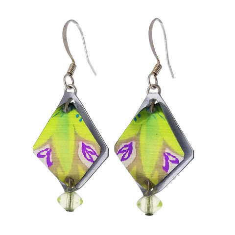 Singerman Post Diamond Green Purple Earrings