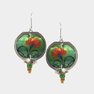 Singerman & Post Green and Red Flower Earring