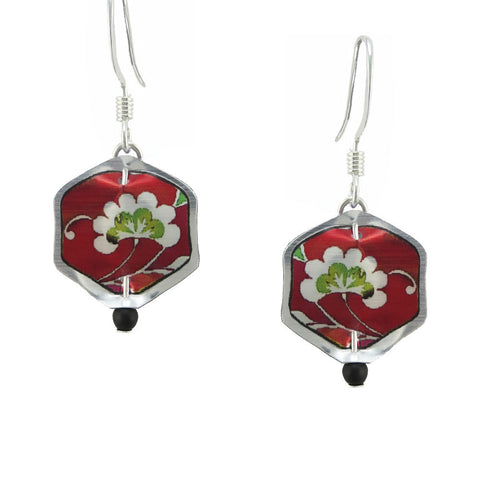 Singerman & Post Mini Red White Blossom Earrings