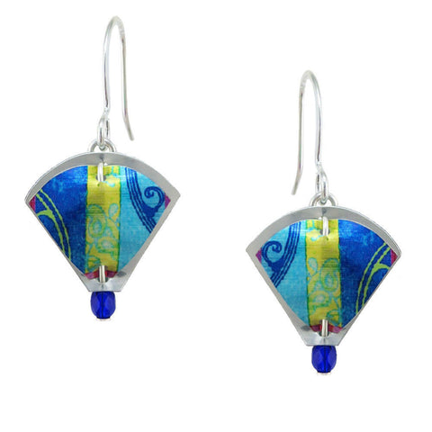Singerman & Post Mini Blue Yellow Pattern Earrings