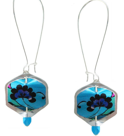 Singerman & Post Mini Peacock Blue Floral Earrings