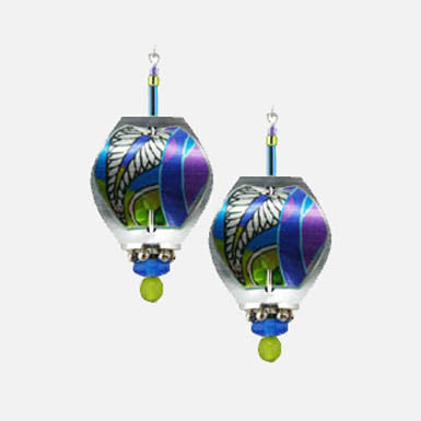 Singerman & Post Blue, Purple and Green Abstract Pattern Earrings