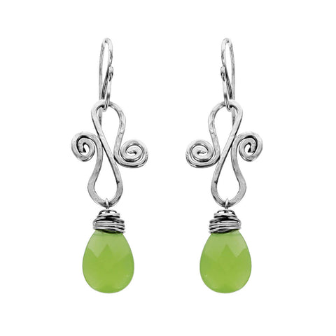 Soft Green Chalcedony Scroll Earrings