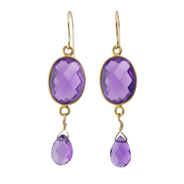 Sonoma Artworks Double Amethyst Drop Earrings