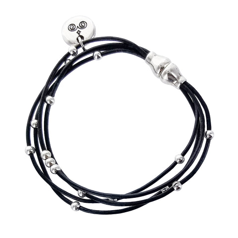 Spanish Black Leather Multi Strand Orbit Bracelet