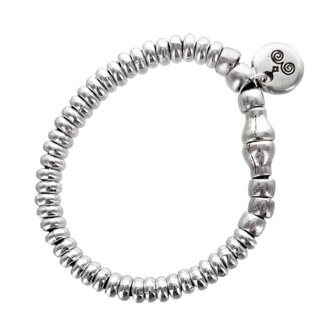 Spanish Leather Silver Beads Bracelet