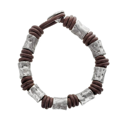 Spanish Brown Leather Silver Beads Bracelet