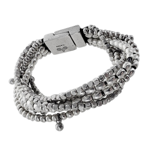 Spanish Leather Three Shape Silver Beads Bracelet