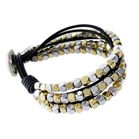 Spanish Mixed Metal Rounded Cubes Leather Bracelet