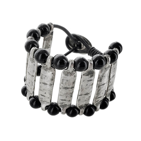 Spanish Silver Bars Beaded Leather Bracelet
