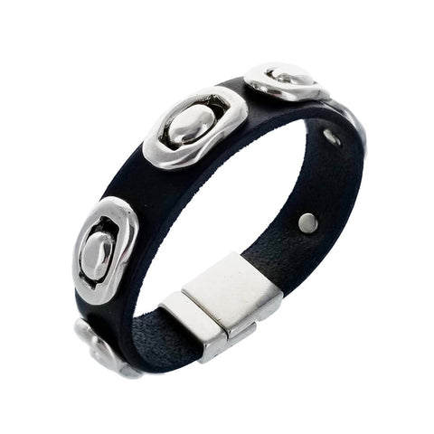 Spanish Silver Ovals Leather Bracelet