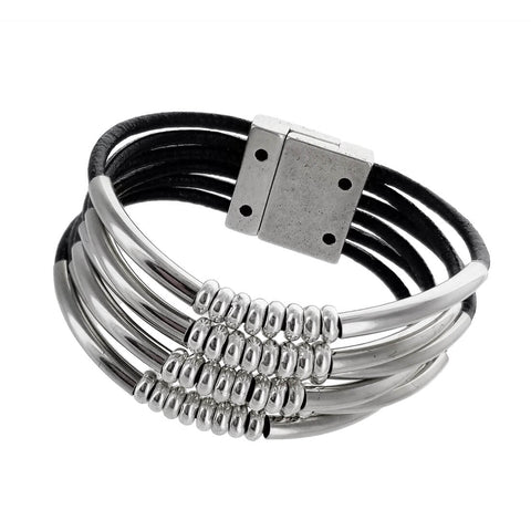 Spanish Six Strand Silver Bars And Beads Leather Bracelet