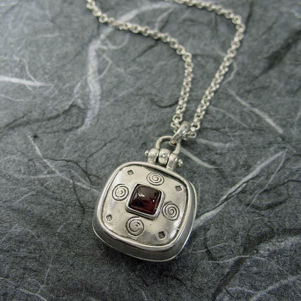 Sterling Locket Necklace With Garnet And Sprirals