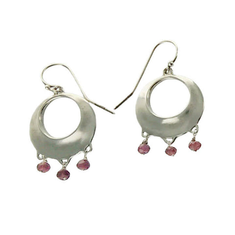 Sterling Silver Hoop Earrings with Garnet Drops