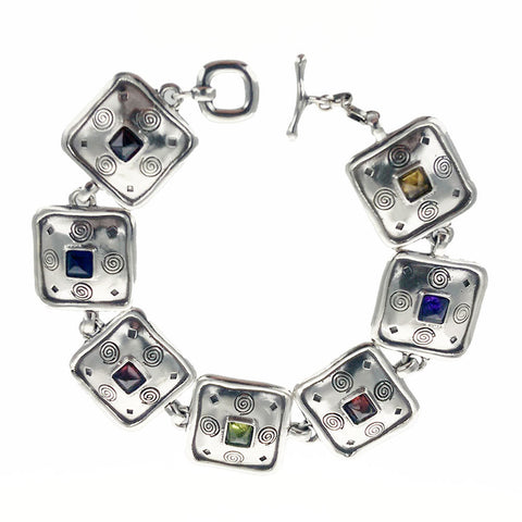 Multi Color Gemstone Sterling Squares Bracelet