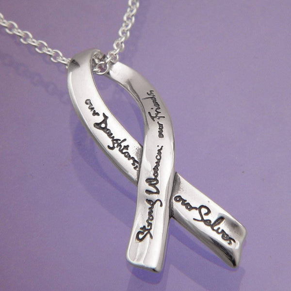 Strong Women Inscribed Sterling Silver Necklace