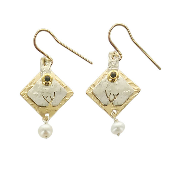 Stuart Peterman Mixed Metal Squares Earrings
