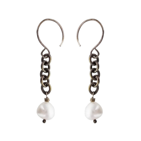 Suspended Pearl Chain Earrings