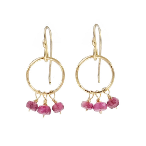 Sweet Rubies On Gold Hoops