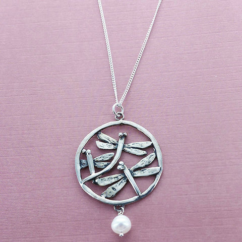 Triple Encircled Dragonfly Necklace