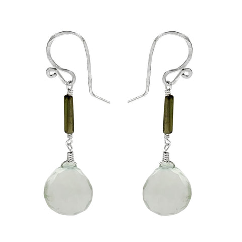 Tourmaline Stick Green Amethyst Earrings