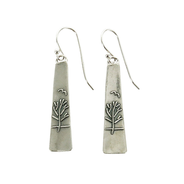 Trapezoidal Sterling Silver Tree Of Life Earrings