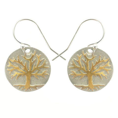 Gold Tree Of Life On Sterling Silver Earrings