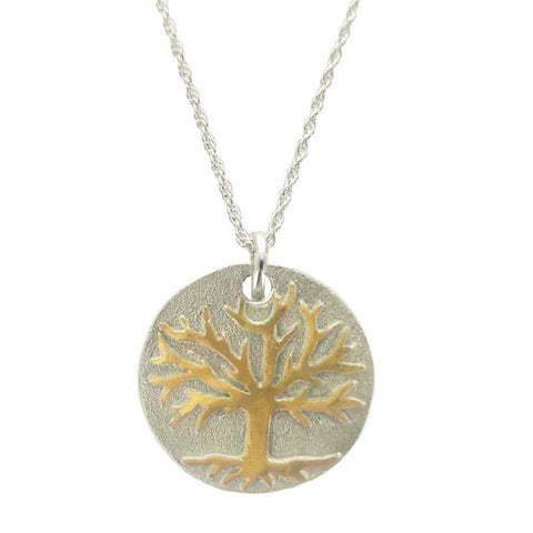 Tree of Life Silver and Gold Pendant Necklace