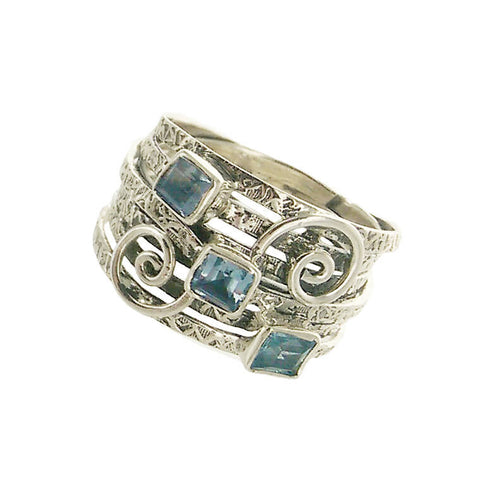 Triple Blue Topaz Spiral Ring Second View