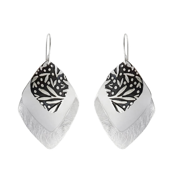 Triple Layer Textured Silver Earrings