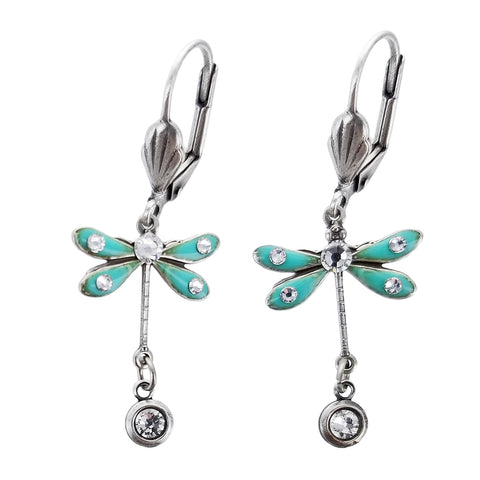 Turquoise Dragonfly Crystal Drop Earrings