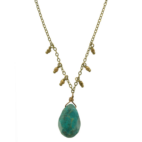 Edgy Petal Turquoise Teardrop Necklace