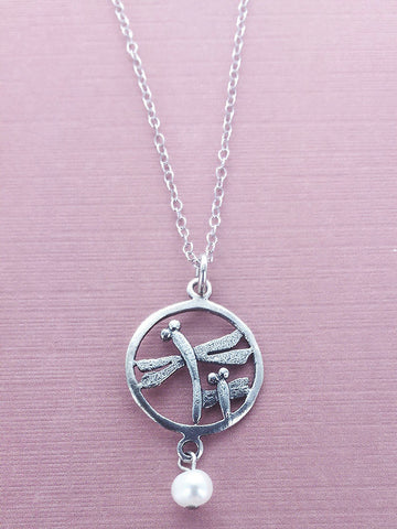 Double Encircled Dragonfly Necklace